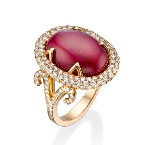 טבעת קוקטייל אבן רובי