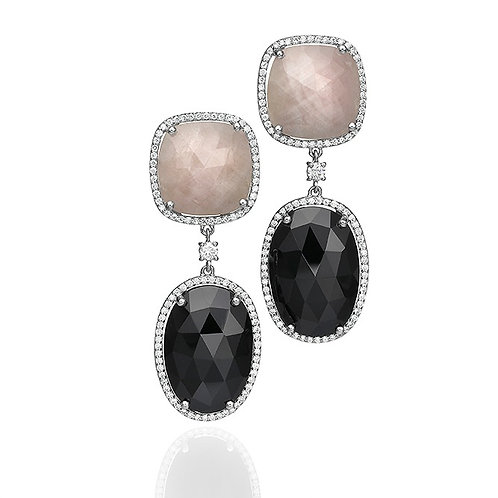 White Sapphire & Black Onyx Earrings