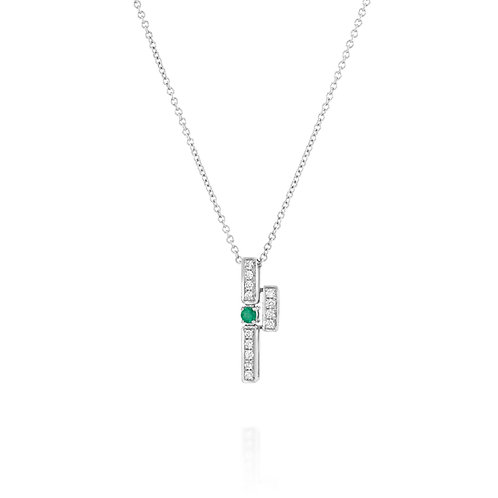 Geometric Diamonds and Emerald Pendant