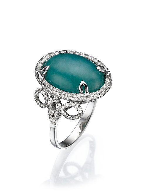 Jade and Diamonds Cocktail Ring