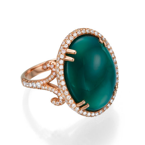 Green Onyx and Diamonds Cocktail Ring