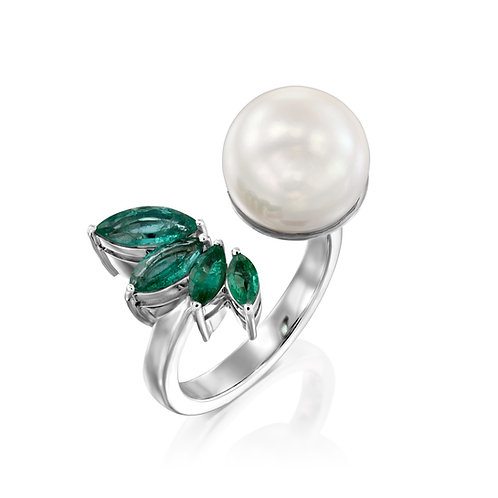 Pearl & Emeralds Open Ring