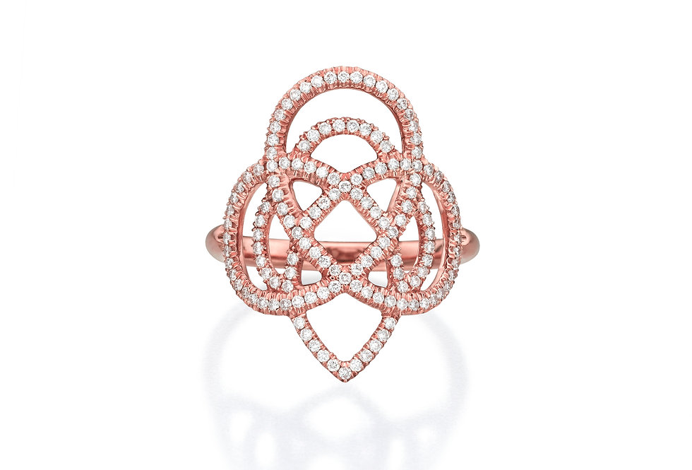Diamond & Rose Gold Arabesque Statement Ring