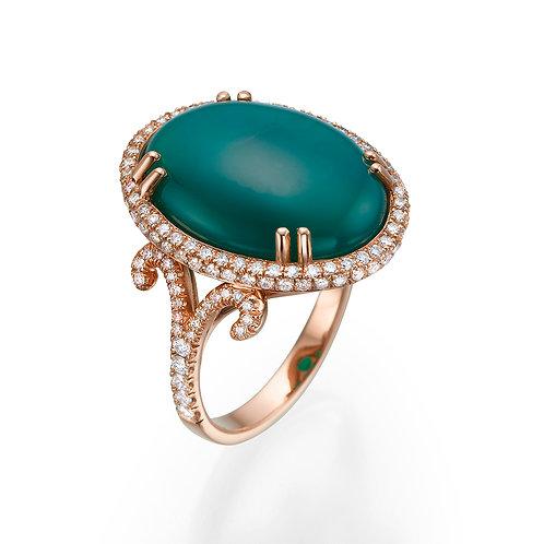 טבעת קוקטייל אוניקס ירוקה ויהלומים