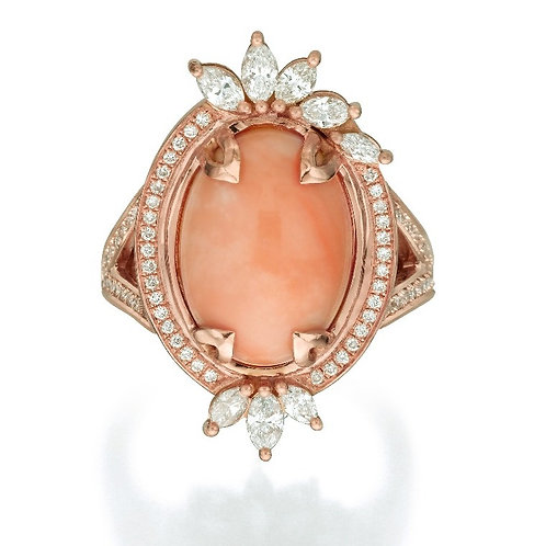 Coral and Marquise Diamonds Cocktail Ring