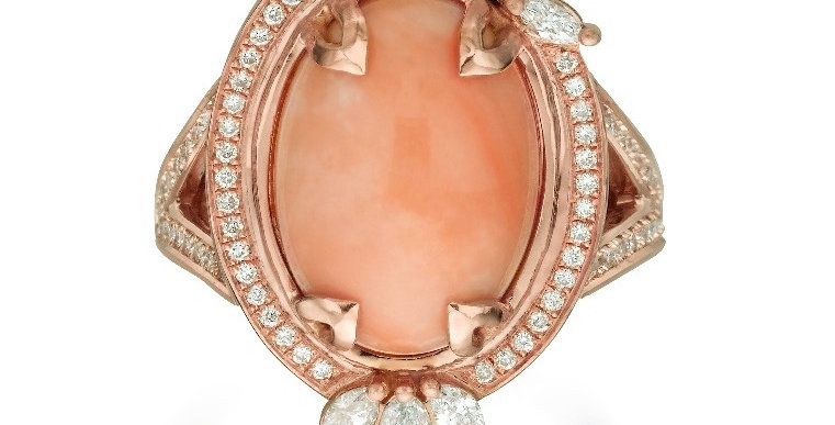 Coral and Marquise Cocktail Ring
