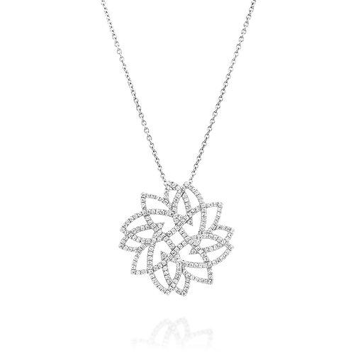 Round Diamonds Leaf Pendant