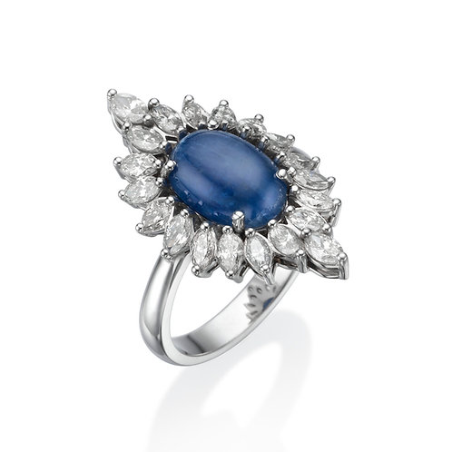 Sapphire and Marquise Diamonds Ring