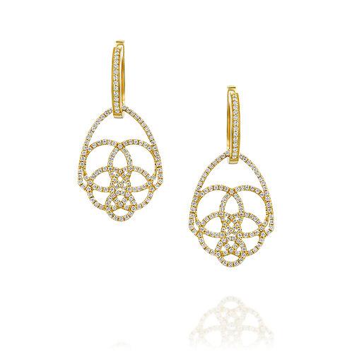 Diamonds Hamsa  Drop Earrings