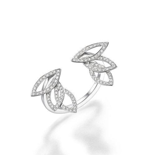 Diamonds Leaves Open Ring