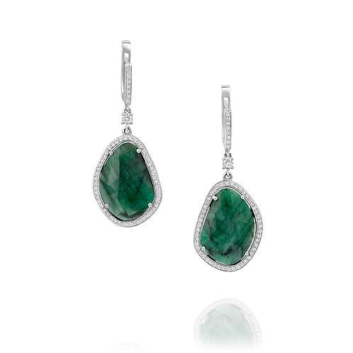 Emerald Teardrop Diamond Earrings