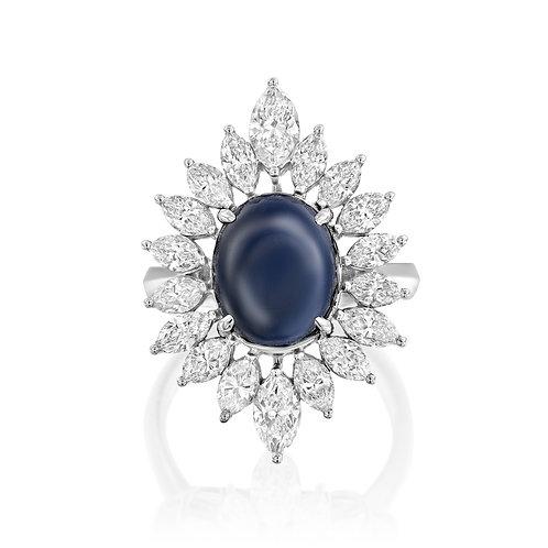 טבעת קוקטייל ספיר ויהלומי מרקיזה