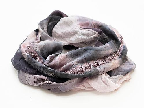Châle XL en soie avec mousseline de soie et ruban rose