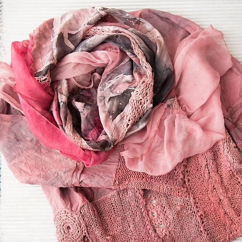 Châle XL en soie, avec du tricot en soie et avec de la mousseline de soie