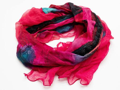 """Châle XL en soie avec mousseline de soie et ruban  """"roses"""""""