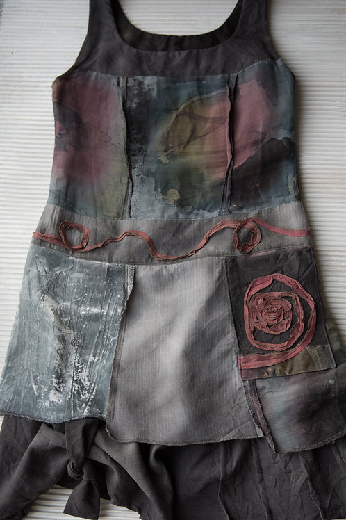 robe tunique en soie/laine/chanvre; vendue, sur commande