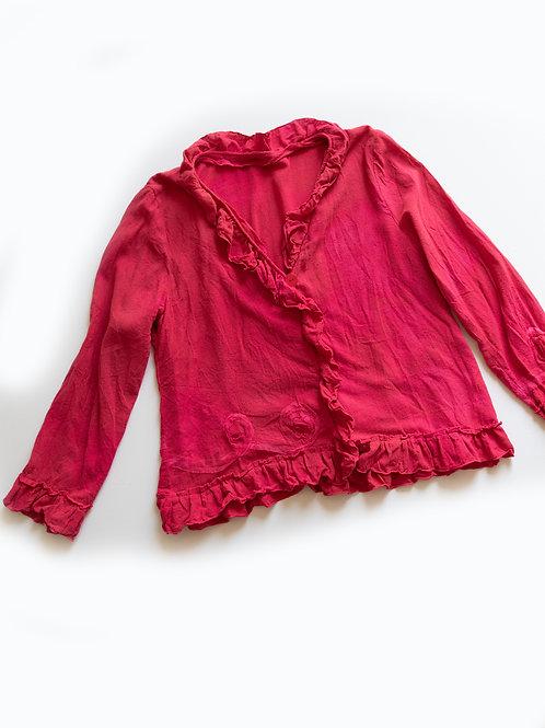 veste/blouse légère en soie bourette à volants