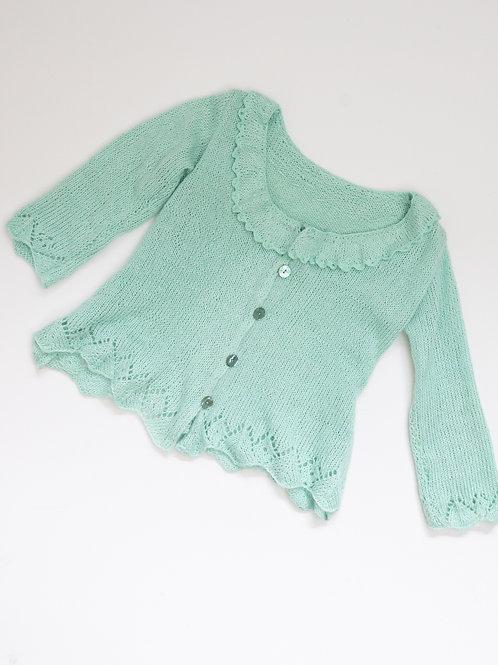 Veste tricotée à la main en coton / soie