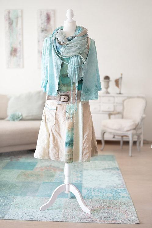 Tunikakleid aus Seide und Baumwolle, handbemalt