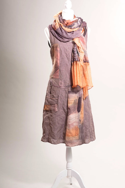 Tunikakleid aus Baumwolle/Metall/Hanf/Seide; gefüttert,