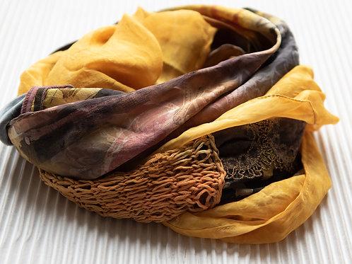écharpe loop avec du tricot en soie, bande ornementale, soie-velours
