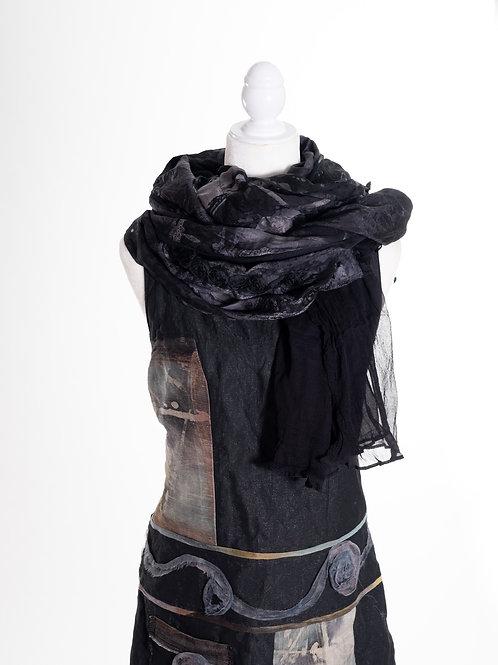 Châle XL aus Seide mit Seidenmousseline und Rosenband
