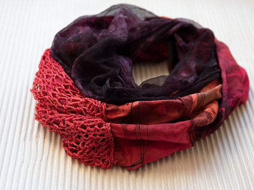 écharpe ronde en soie avec tricot de soie