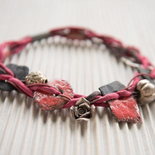 Seidenschnurkette mit Silber, Keramik