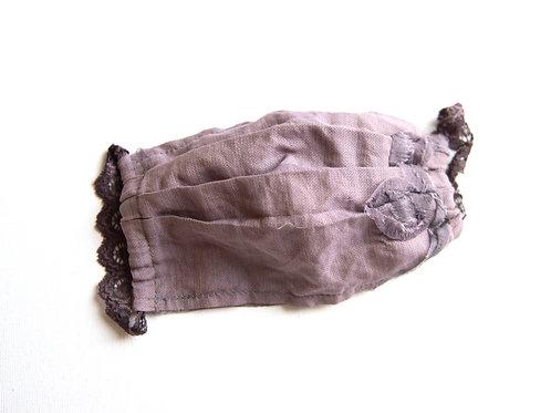 Gesichtsmaske aus Baumwolle/Seide mit Applikation