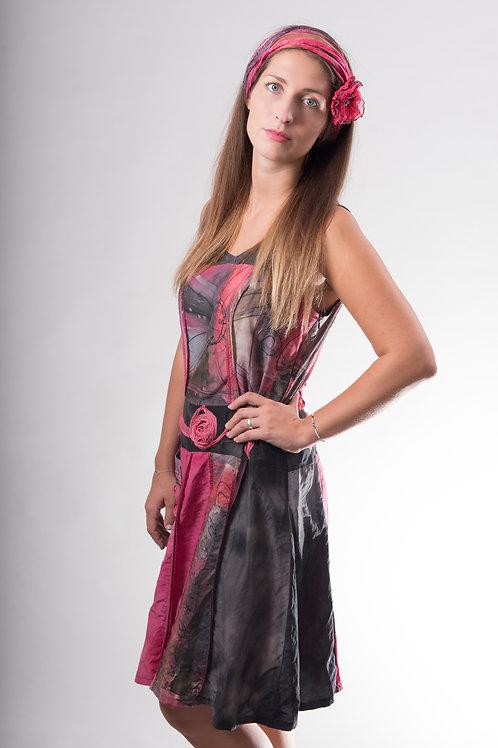 robe tunique légère en soie, coton, peinte à la main
