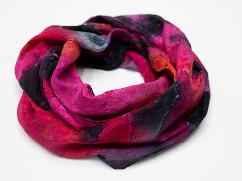 écharpe en soie peinte à la main