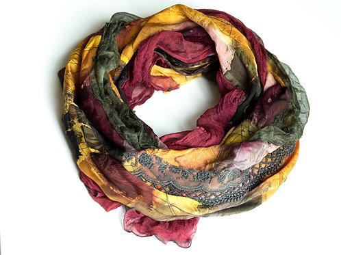 Châle XL en soie avec mousseline de soie et ruban décoratif exclusif