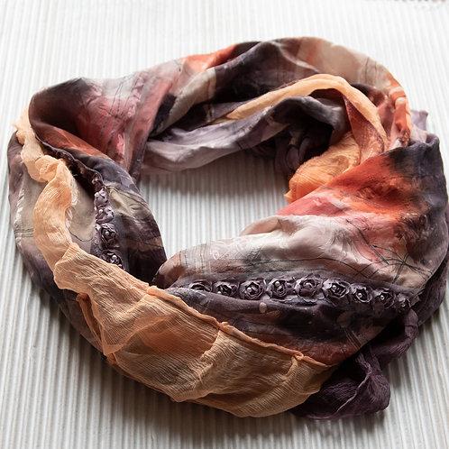 châle XL en soie légère avec mousseline de soie et ruban rose
