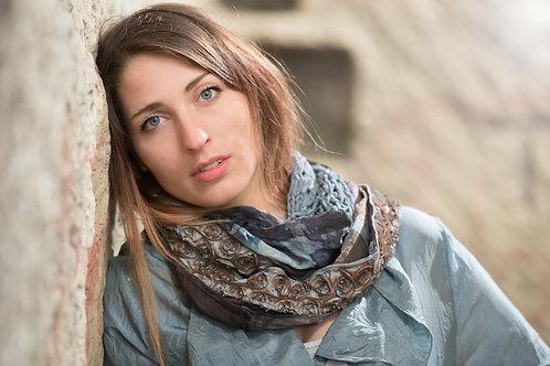"""écharpe loop en soie avec du tricot en soie, bande """"roses"""""""