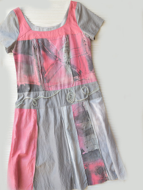 leichtes Tunikakleid aus Seide, Baumwolle, handbemalt