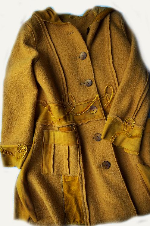 manteau en laine et velours soie