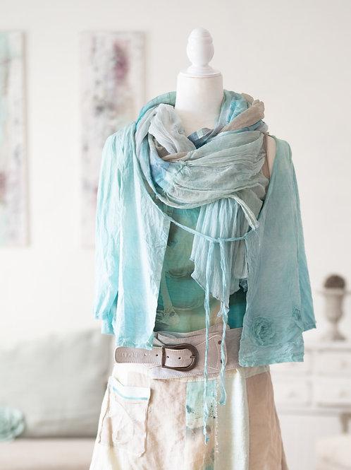 veste légère en soie-coton avec bretelles à nouer