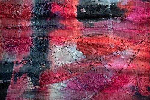 écharpe en soie, peinte à la main