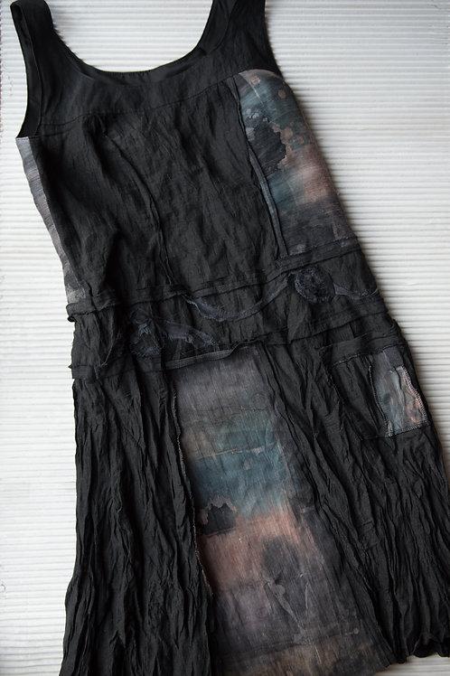 Robe tunique en coton, métal, chanvre, soie; doublée