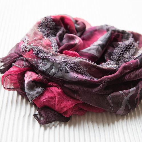 châle XL en soie avec mousseline de soie et ruban pailleté