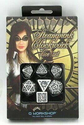 Steampunk Clockwork Dice Set White/Black (7)