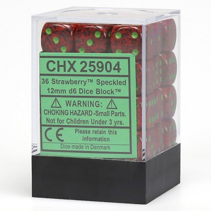 Strawberry 12mm D6 Dice Block (36)
