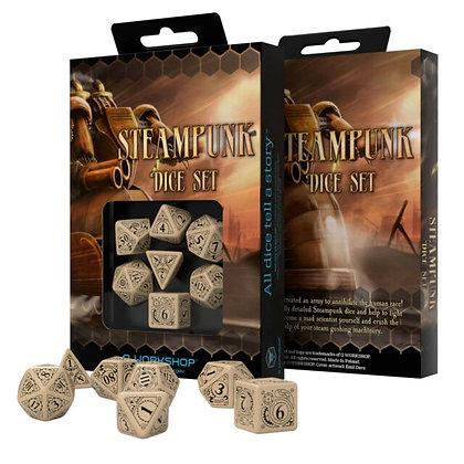 Steampunk Dice Set Beige/Black (7)