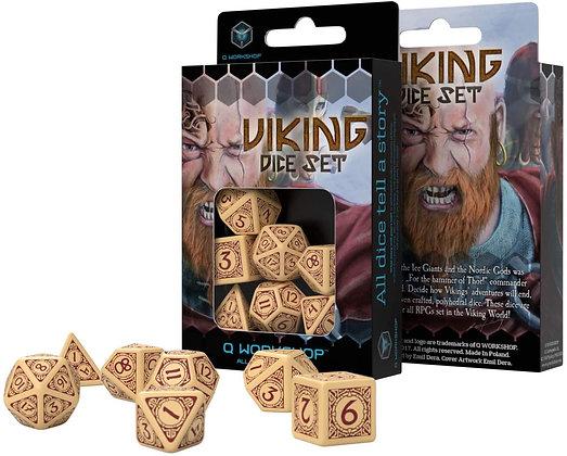 Viking Dice Set Beige/Brown (7)