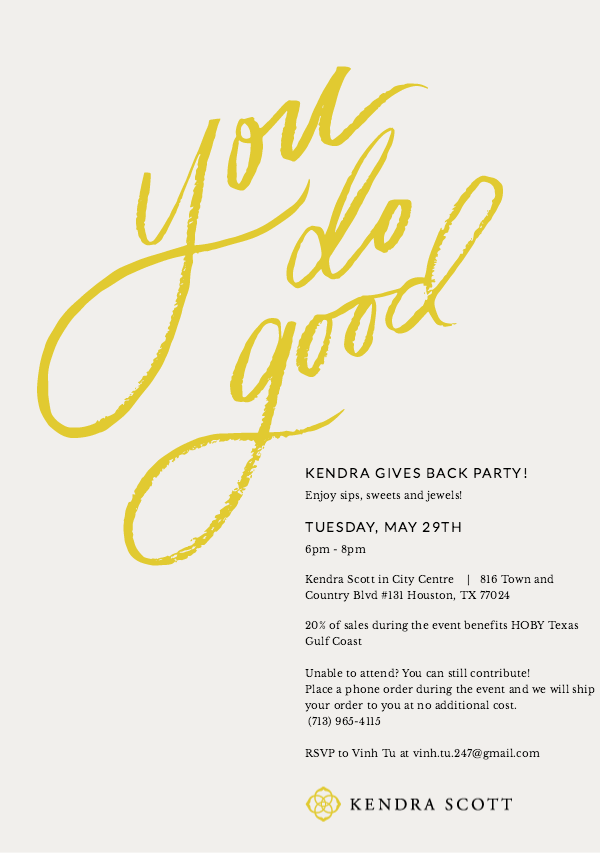 Join us at Kendra Scott in City Centre on Tuesday, May 29th from 6 - 8 p.m.! You'll receive complimentary refreshments while you shop and 20% of the sales will benefit HOBY TGC!