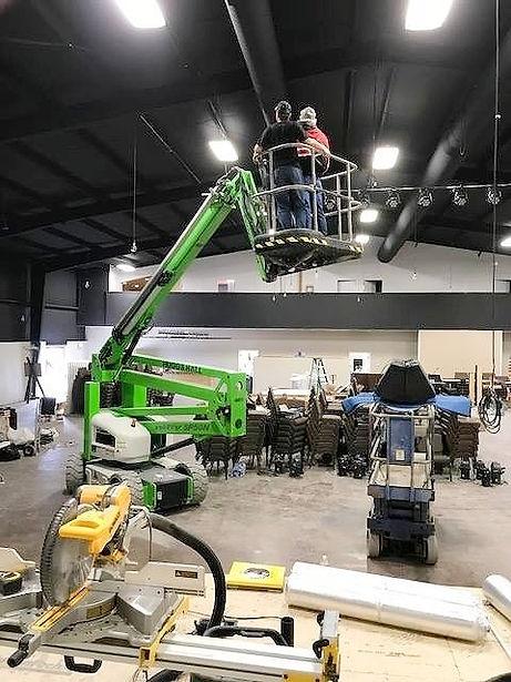 Annidale crew installing updates at Kibler Baptist Church