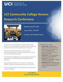 UCI CC Honors Research Conference Flyer