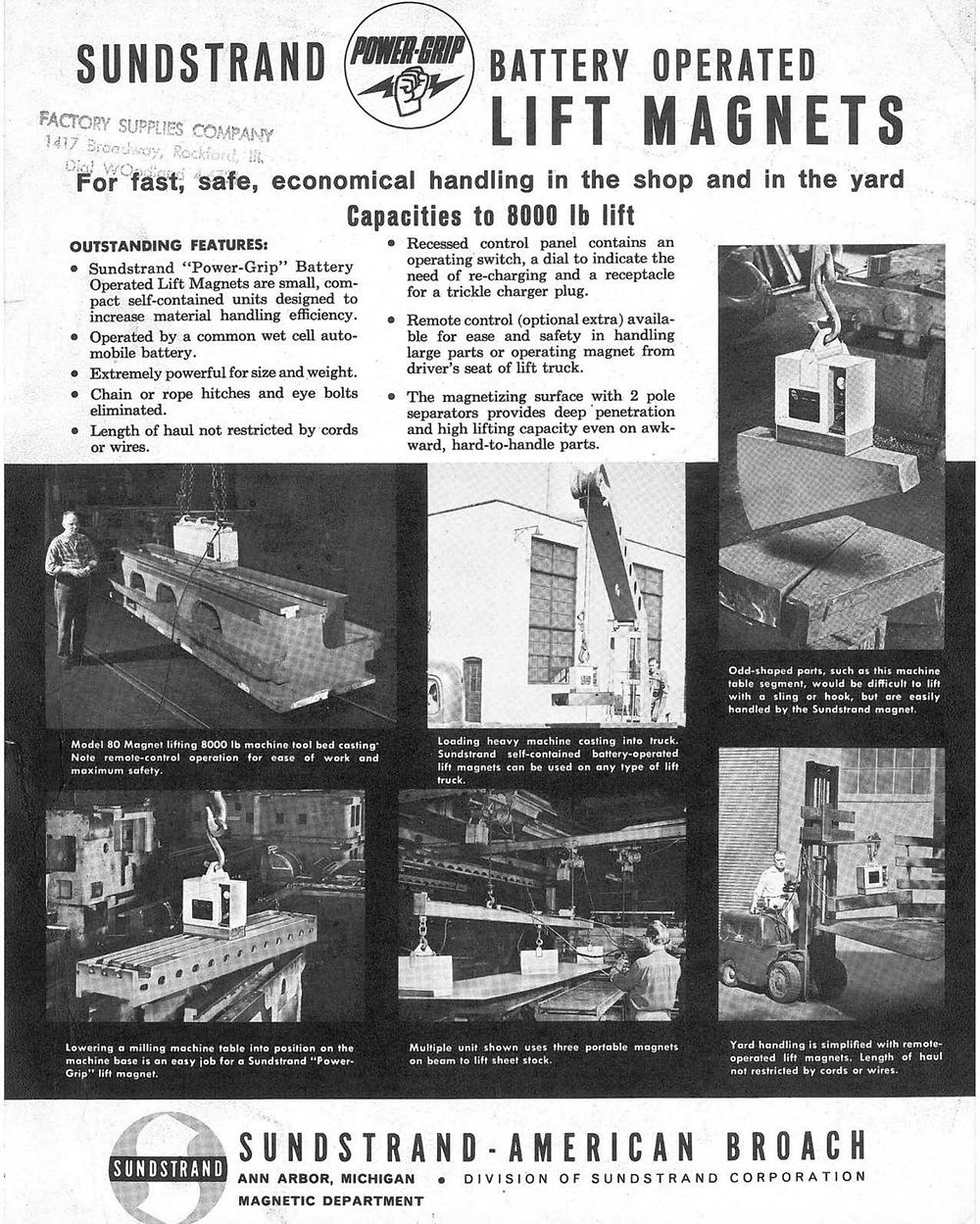 Sundstrand Power-Grip Lift Magnet Advertisement