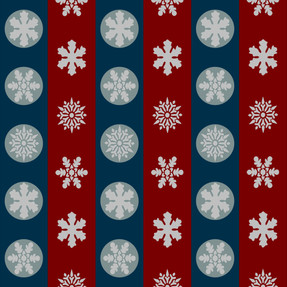 Snowflakes in Blue and Red Stripes