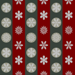 Snowflakes in Green and Red Stripes